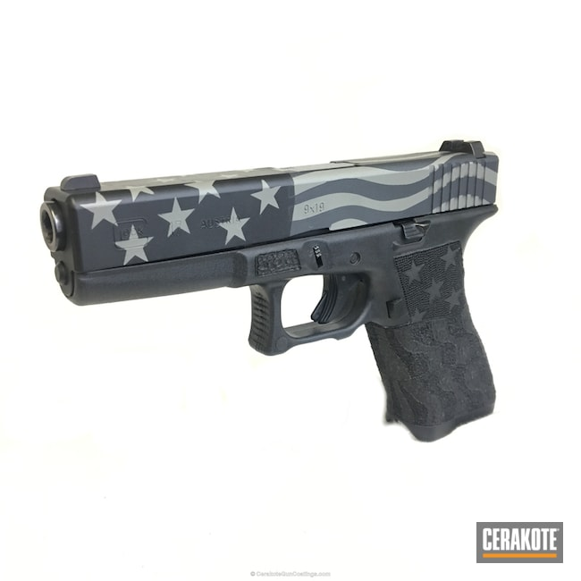 Glock 17 Handgun in a American Flag Themed Cerakote Finish