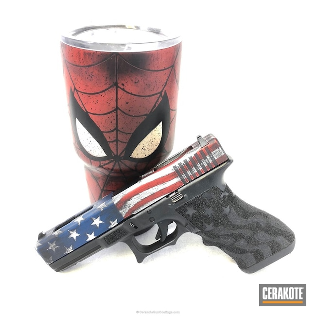 Cerakoted American Flag Themed Glock 17 Pistol and Spiderman Tumbler Cup