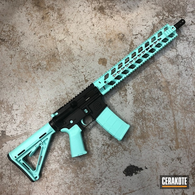Two Toned Tactical Rifle in H-146 Graphite Black and H-175 Robin's Egg Blue