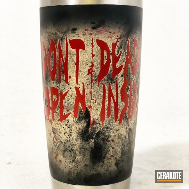 TV Show Themed Cup coated in a Distressed Graphite Black, Crimson and Desert Sand