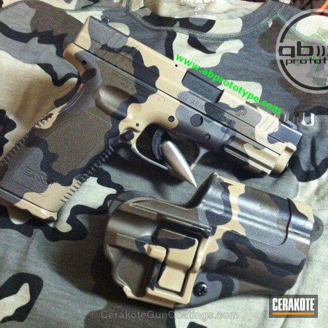 Custom matching Kuiu Vias Camo with matching magazine base plates (3) and holster