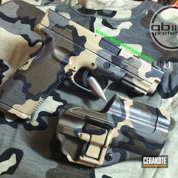 Cerakoted Custom Matching Kuiu Vias Camo With Matching Magazine Base Plates (3) And Holster