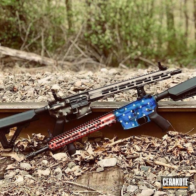 Cerakoted Battleworn American Flag Rifles