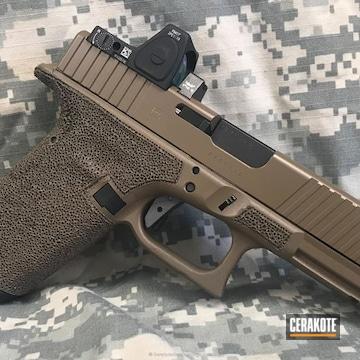 Cerakoted Stippled Glock Handgun Coated In H-261 Glock Fde