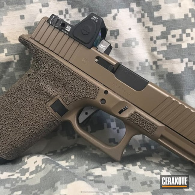 Cerakoted Stippled Glock Handgun Coated In H-261 Glock Fde