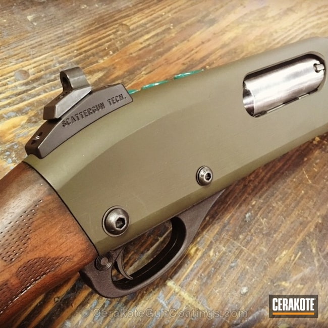 Remington Short Barreled Shotgun coated in H-146 Graphite Black and H-232 MagPul O.D. Green