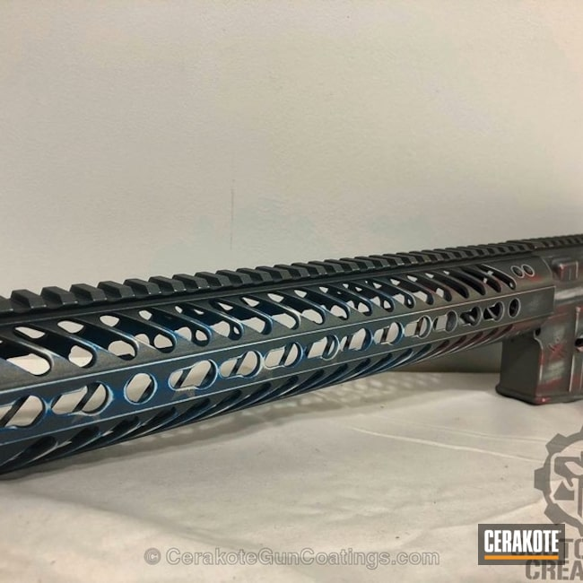 Upper / Lower / Handguard coated in a Subdued American Flag Finish
