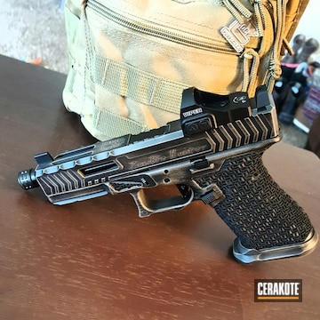 Cerakoted Custom Glock Build In A Distressed Graphite Black And Magpul Flat Dark Earth Finish