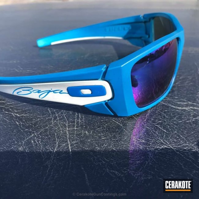 Oakley Sunglasses coated in H-140 Bright White and H-169 Sky Blue