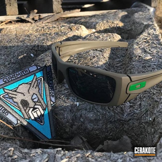 Oakley Sunglasses coated in H-267 MagPul Flat Dark Earth and H-232 MagPul O.D. Green