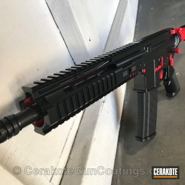 "Thumbnail image for project ""AR-15 coated in H-167 USMC Red and H-109 Gloss Black"""