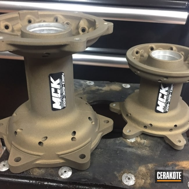 Motorcycle Wheel Hubs coated in H-148 Burnt Bronze and H-109 Gloss Black