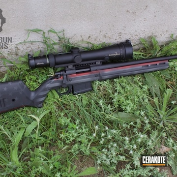 Cerakoted Remington 700 Bolt Action Rifle In A Cerakote Thin Red Line / Flag Theme