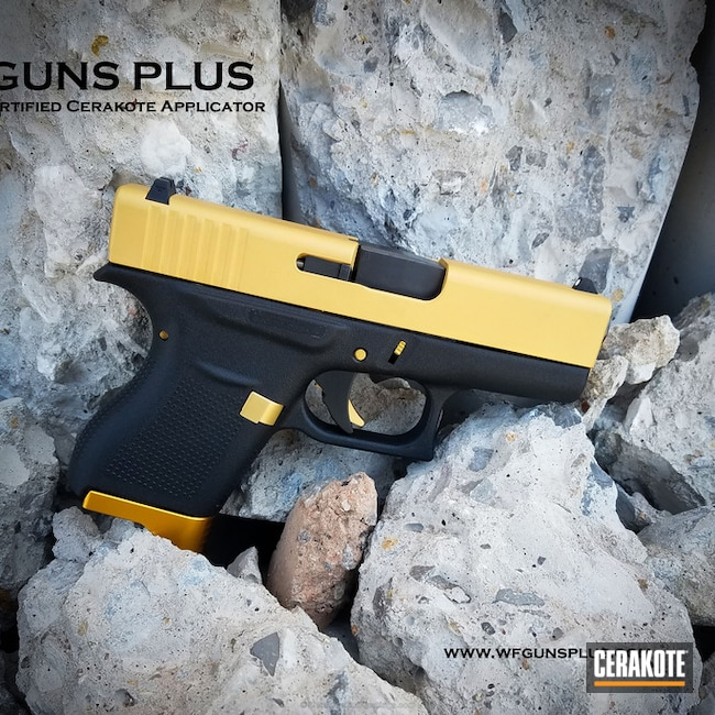 Glock 43 Slide in Cerakote H-122 Gold