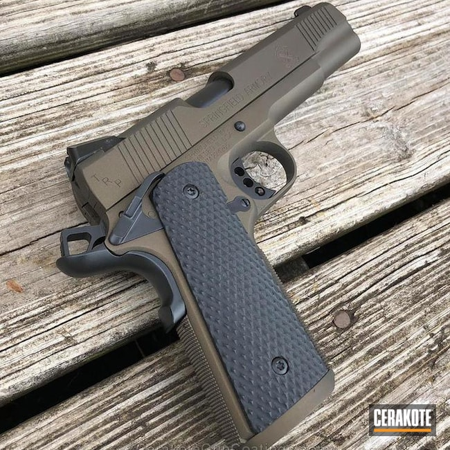 Springfield 1911 Handgun in a Graphite Black and Midnight Bronze Finish