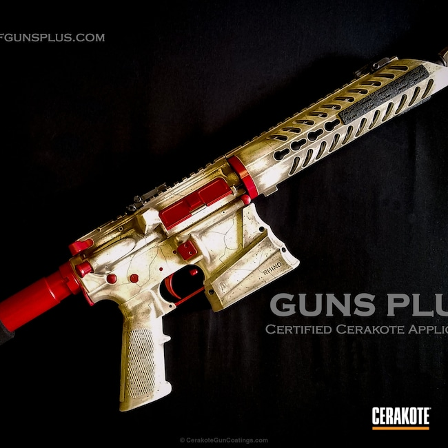 Bone themed gun. Fracture lines done by hand, USMC Red, Snow White Graphite Black