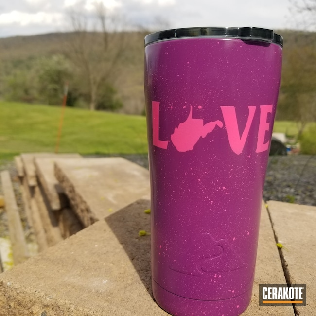 Custom Cup coated in H-141 Prison Pink and H-197 Wild Purple