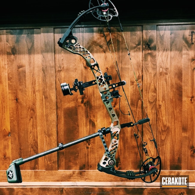 Compound Bow in a Custom Woodland Camo Finish