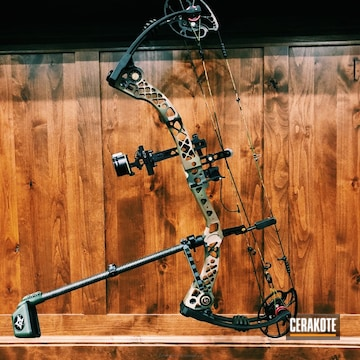 Cerakoted Compound Bow In A Custom Woodland Camo Finish