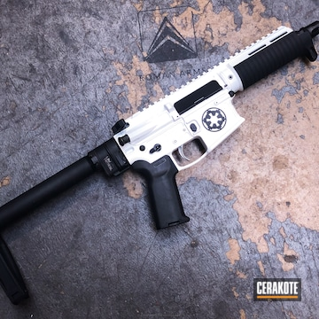 Cerakoted Ar Pistol Coated In H-190 Armor Black And H-297 Stormtrooper White