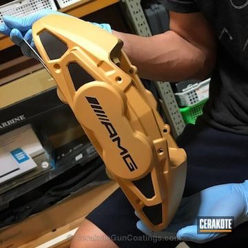 Cerakoted Brake Calipers Coated In H-122 Gold And H-146 Graphite Black