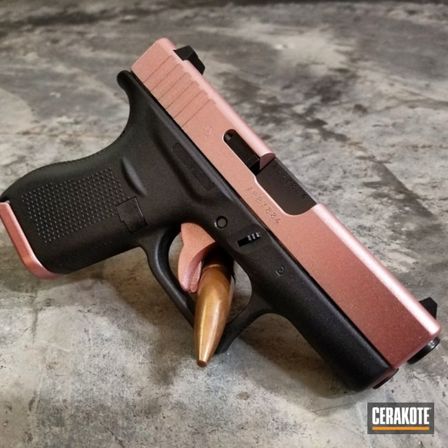Glock 42 Handgun in H-153 Shimmer Gold and H-300 High Gloss Armor Clear