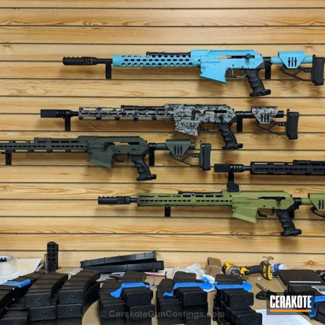 Assorted Firearms in Custom Cerakote Finishes