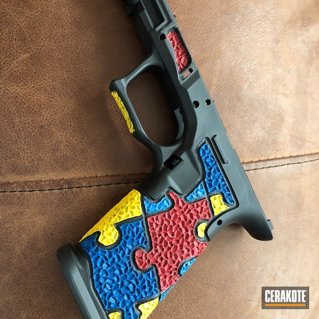 Glock Frame in a Custom Stippled / Cerakote Finish