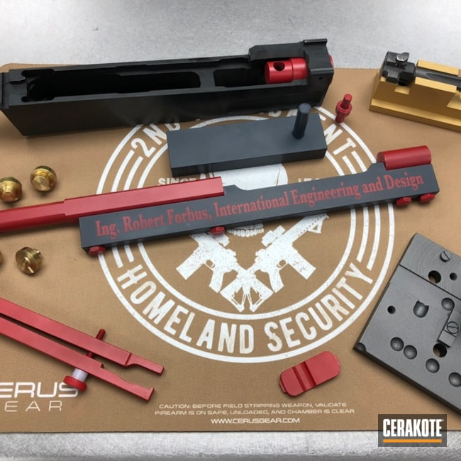 Assorted Tools coated in H-216 Smith & Wesson Red, H-184 Glock Grey, H-122 Gold and H-167 USMC Red