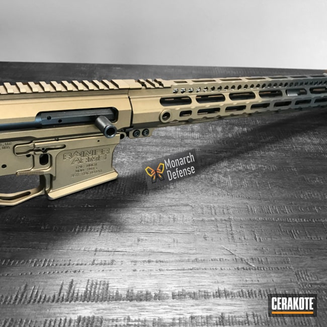 Rainier Arms Rifle done in H-148 Burnt Bronze and H-146 Graphite Black