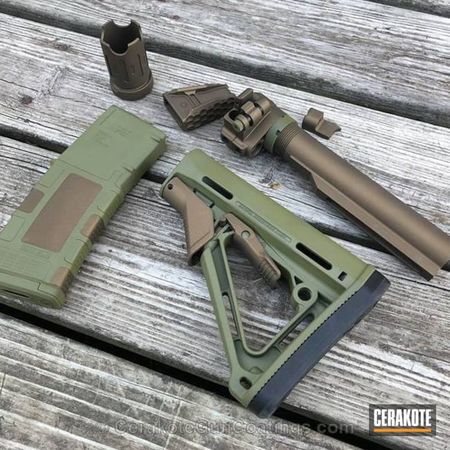 Gun Parts in a Two Toned Burnt Bronze and Bazooka Green Finish