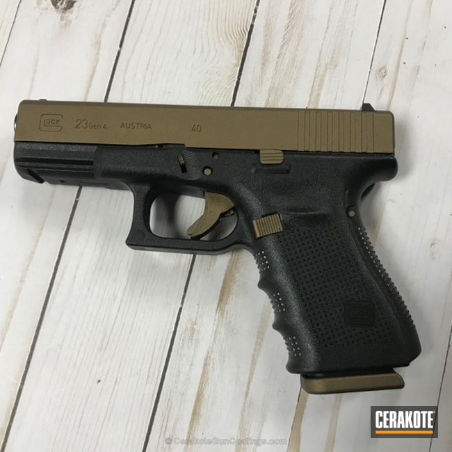 Glock 23 Handgun in Cerakote H-148 Burnt Bronze
