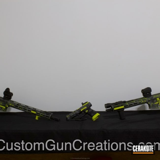 Matching Rifle and Handgun in H-146 Graphite Black and H-214 Smith & Wesson Grey