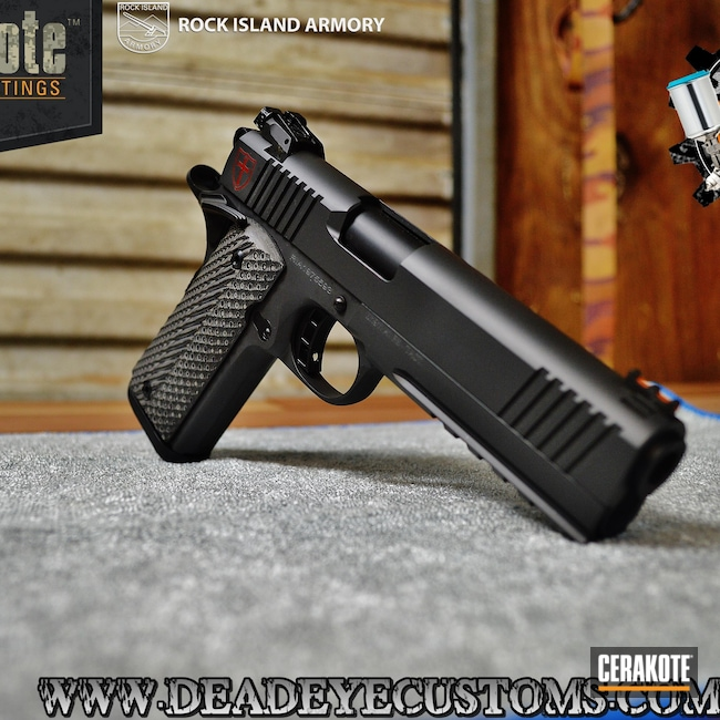 Rock Island Armory 1911 Handgun in a Graphite Black, Crimson and Smoke Finish