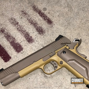 Cerakoted 1911 Handgun Finished In A Two Toned Ral 8000 And Magpul Flat Dark Earth