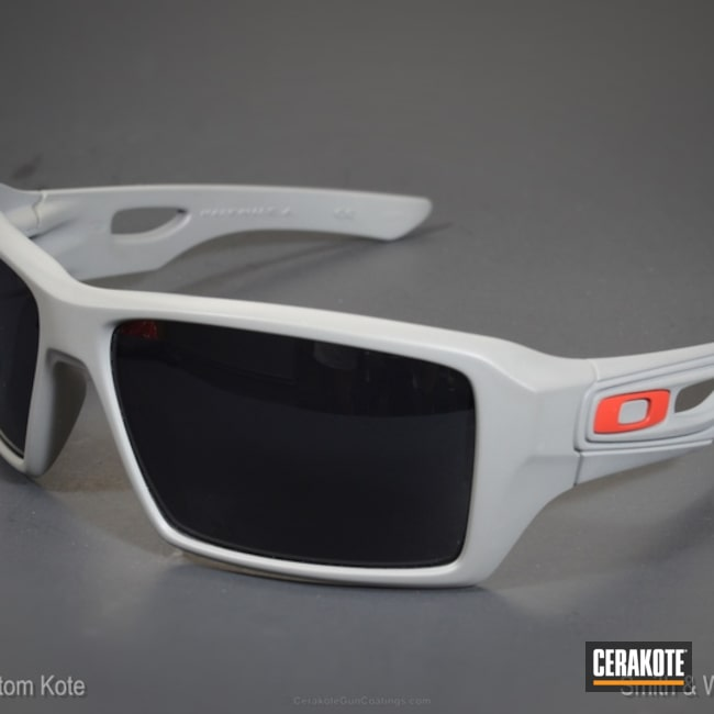 Oakley Sunglasses coated in H-216 Smith & Wesson Red and H-214 Smith & Wesson Grey