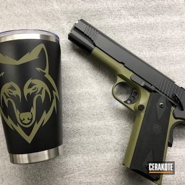 Cerakoted 1911 Handgun And Matching Cup In H-240 Mil Spec O.d. Green And H-146 Graphite Black