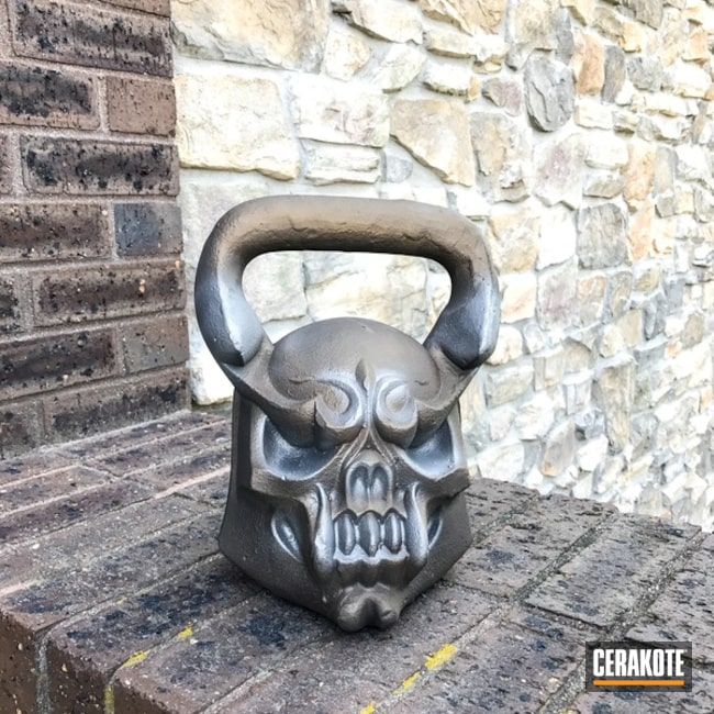 Custom Weightlifting Kettlebell Cerakoted in H-170 Titanium and H-148 Burnt Bronze