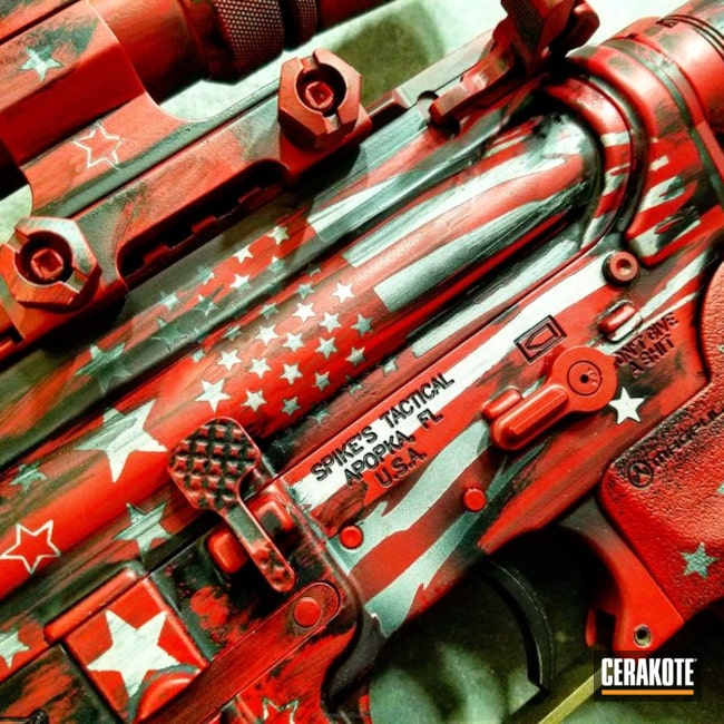 Ar-15 Rifle in a Custom Stars & Stripes Cerakote Theme