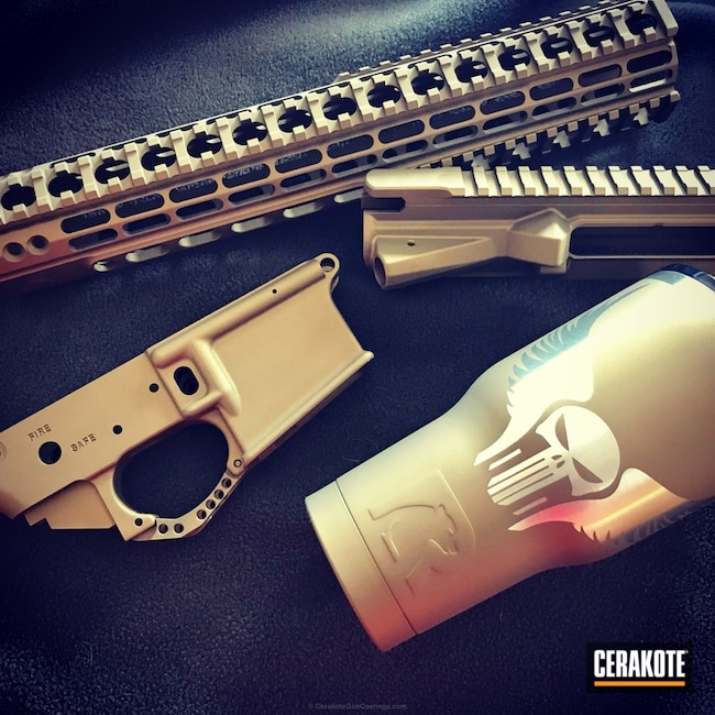 AR-15 Upper / Lower / Handguard coated in H-148 Burnt Bronze