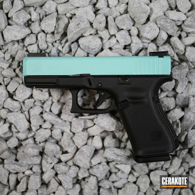 Big version of the 1st project picture. Glock, Glock 19, Slide, Ladies, Girls Gun, Robin's Egg Blue H-175Q
