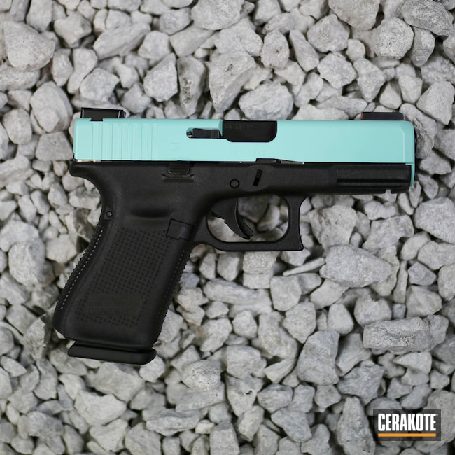 Mobile-friendly version of the 3rd project picture. Glock, Glock 19, Slide, Ladies, Girls Gun, Robin's Egg Blue H-175Q