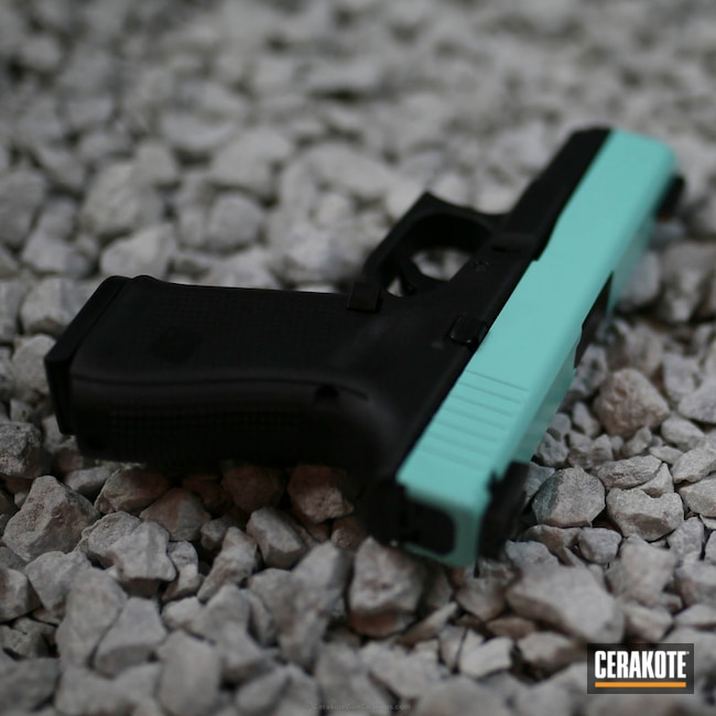 Smaller version of the 3rd project picture. Glock, Glock 19, Slide, Ladies, Girls Gun, Robin's Egg Blue H-175Q