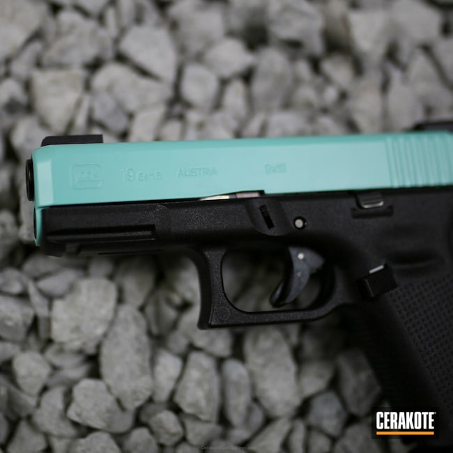 Big version of the 5th project picture. Glock, Glock 19, Slide, Ladies, Girls Gun, Robin's Egg Blue H-175Q