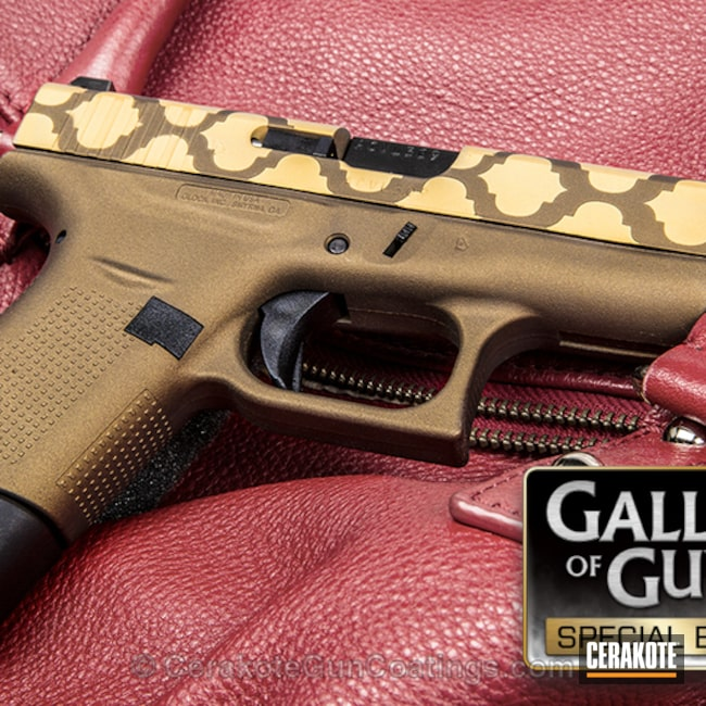 Glock 42 with Custom Two Tone Pattern using H-148 Burnt Bronze and H-122 Gold