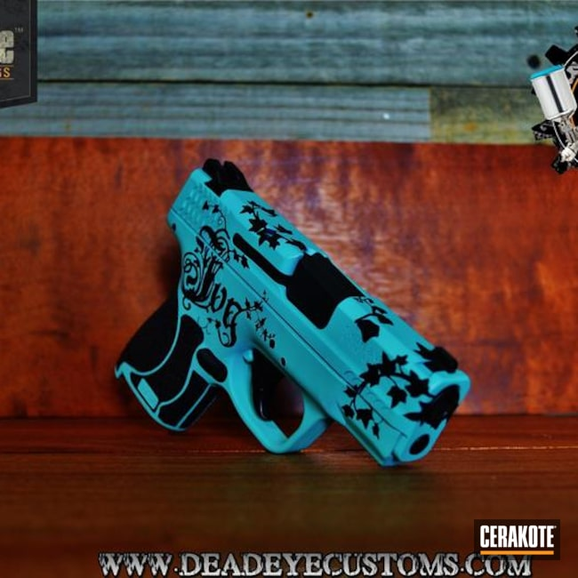 Smaller version of the 1st project picture. Graphite Black H-146Q, Handgun, Pistol, Ladies, Girls Gun, Robin's Egg Blue H-175Q, Filigree, Custom Design