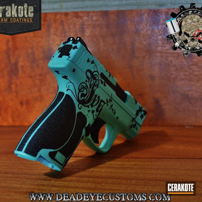Big version of the 2nd project picture. Graphite Black H-146Q, Handgun, Pistol, Ladies, Girls Gun, Robin's Egg Blue H-175Q, Filigree, Custom Design