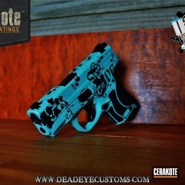 Smaller version of the 3rd project picture. Graphite Black H-146Q, Handgun, Pistol, Ladies, Girls Gun, Robin's Egg Blue H-175Q, Filigree, Custom Design