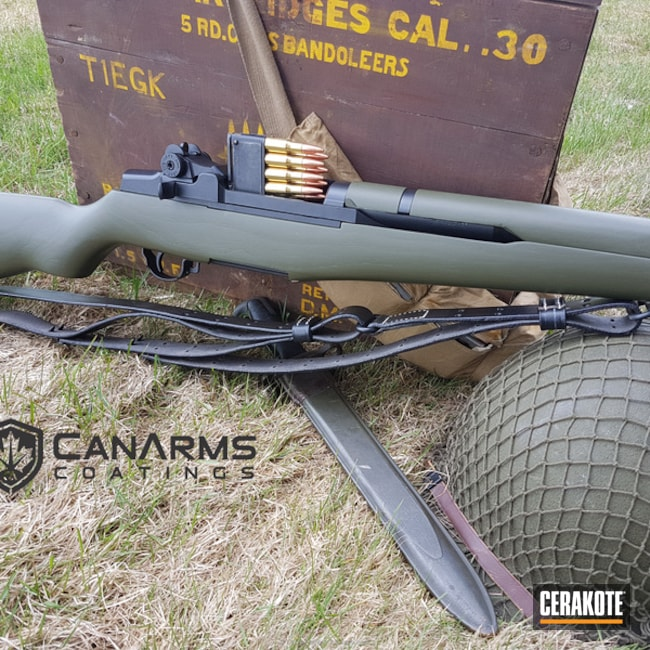 Classic M1 Garand Rifle refinished in Cerakote H-146 Graphite Black C-102 Graphite Black and C-241 O.D. Green