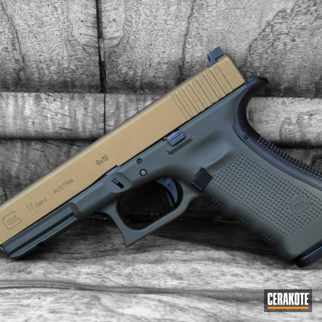 Two Toned Glock Handgun in H-146 Graphite Black and H-148 Burnt Bronze